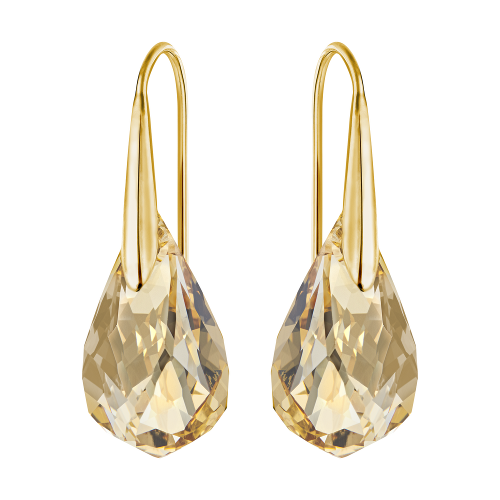 Energic Pierced Earrings, Golden, Gold Plating