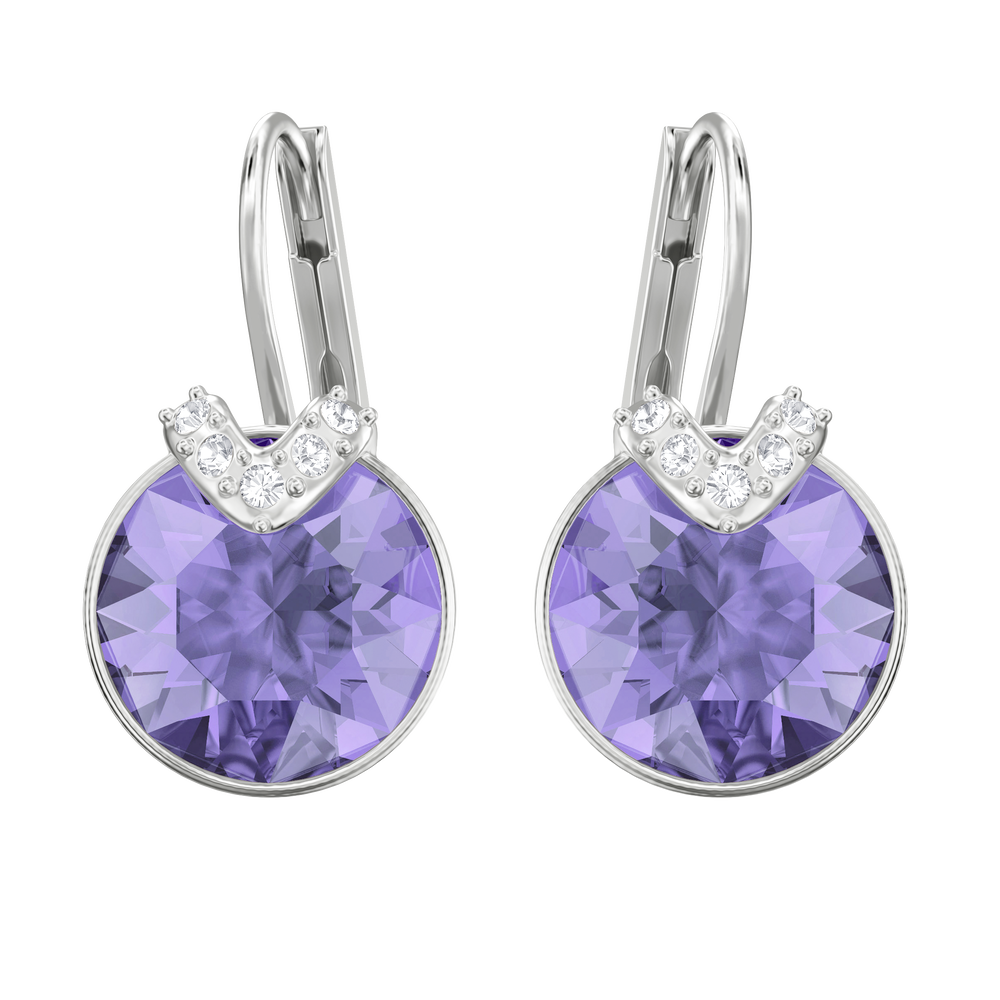 Bella V Pierced Earrings, Violet, Rhodium Plating
