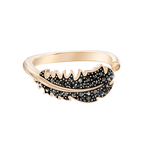 Naughty Motif Ring, Black, Rose-gold tone plated