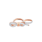 Lifelong Bow Double Ring, Medium, White, Mixed plating