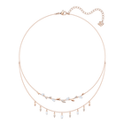 Mayfly Necklace, White, Rose-gold tone plated