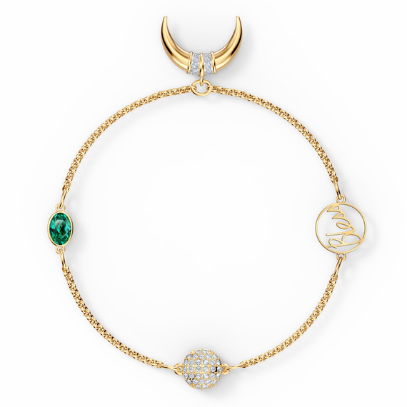 Swarovski Remix Collection Horn Strand, Green, Gold-tone plated