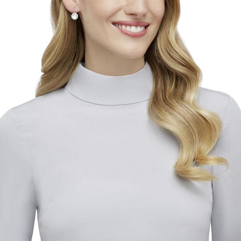 Bella Mini Pierced Earrings, White, Rhodium Plated