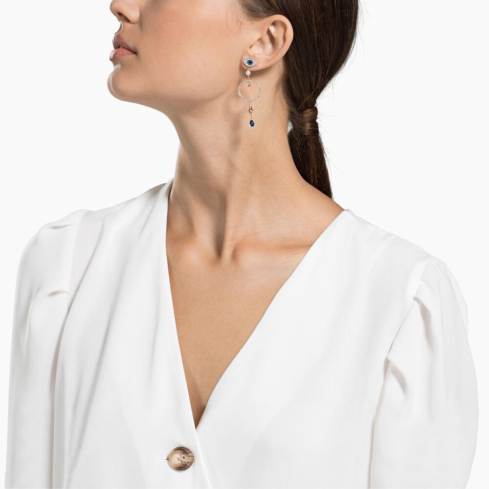 Swarovski Symbolic Hoop Pierced Earrings, Multi-colored, Rose-gold tone plated