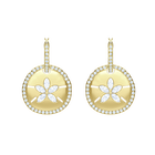 Ocean Sand Coin Pierced Earrings, White, Gold plating