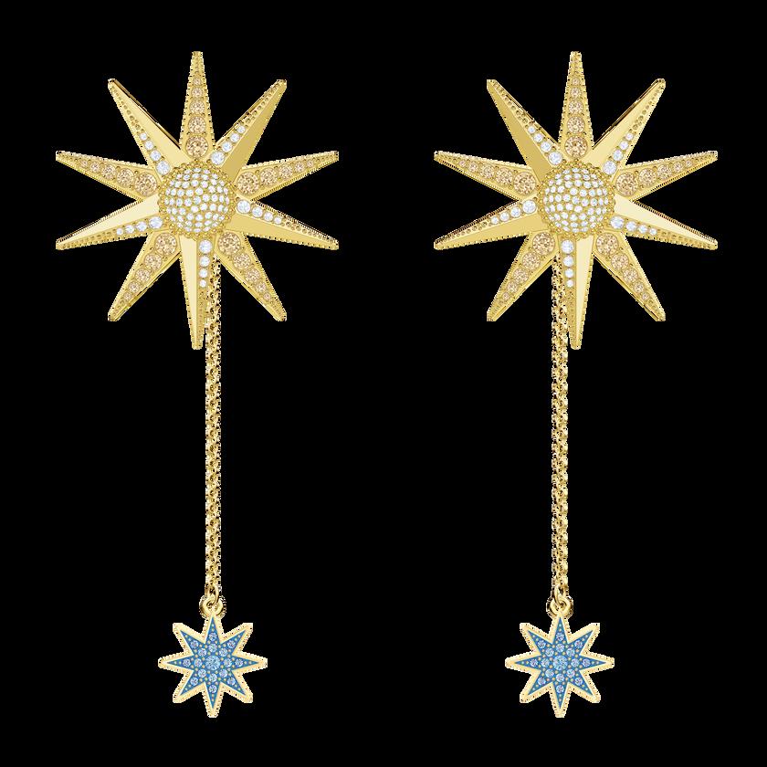 Lucky Goddess Pierced Earrings, Multi-colored, Gold plating
