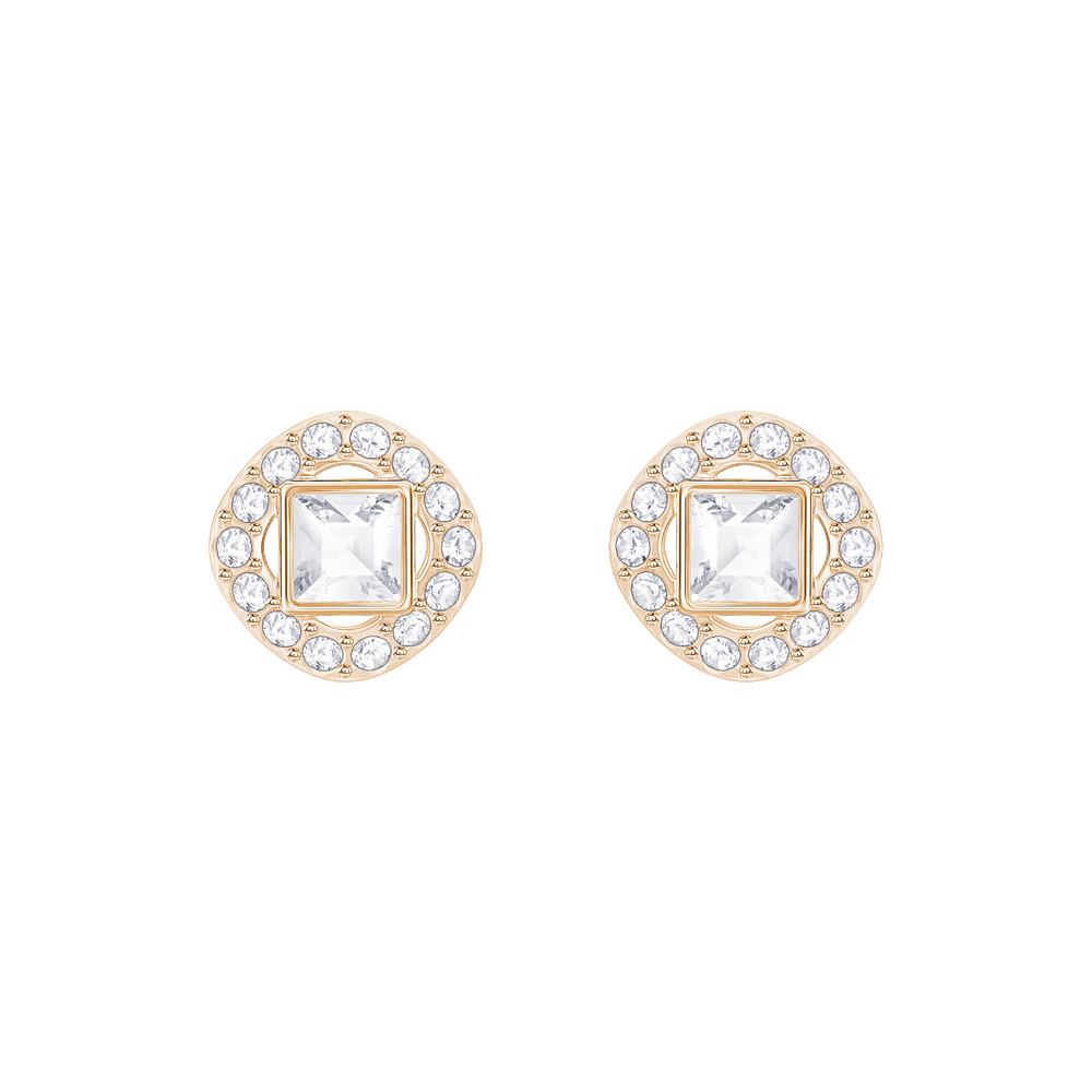 Angelic Square Pierced Earrings, White, Rose Gold Plated
