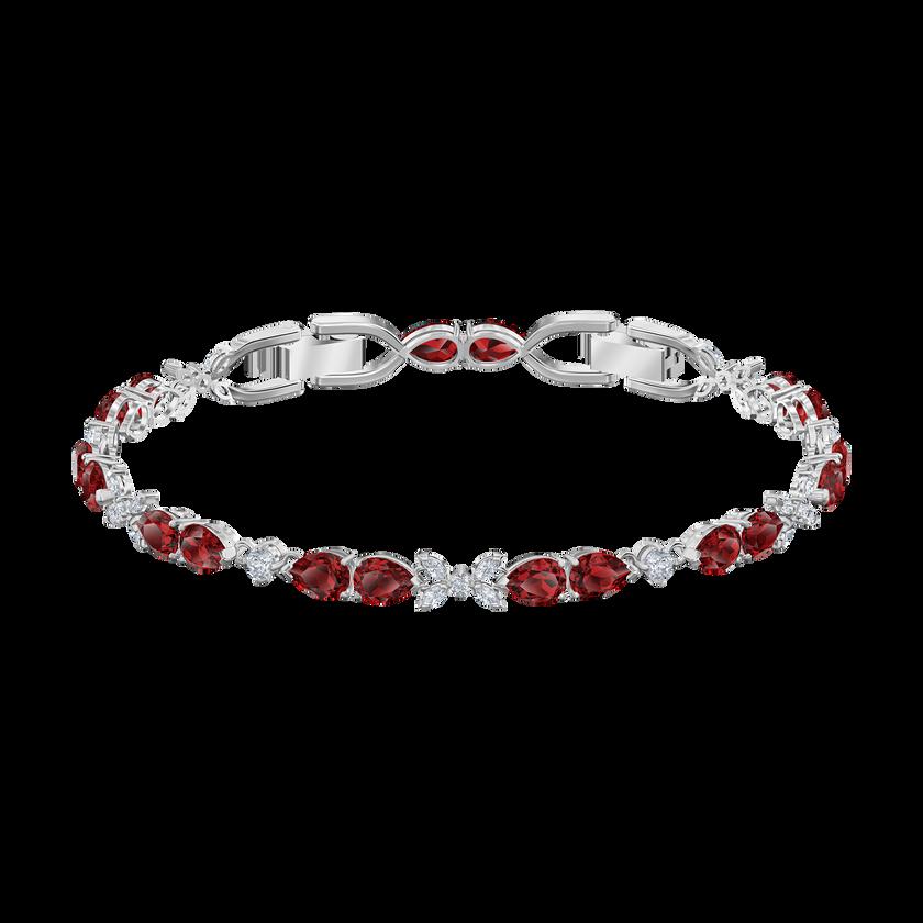 Louison Bracelet, Red, Rhodium plated