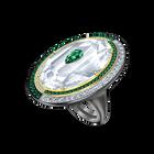 Black Baroque Cocktail Ring, White, Mixed metal finish