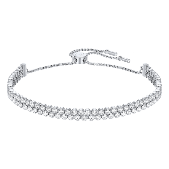 Subtle Double Bracelet, White, Rhodium Plated
