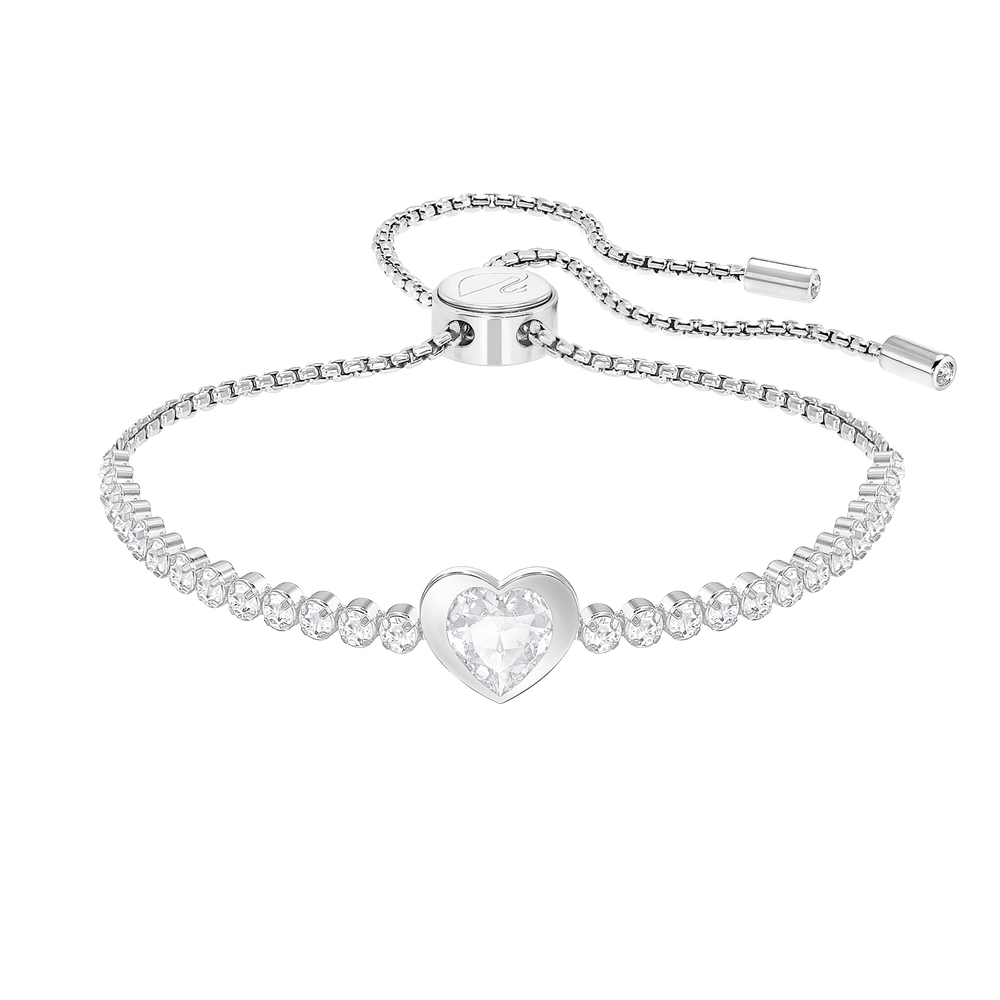 Subtle Heart Bracelet, White, Rhodium plated