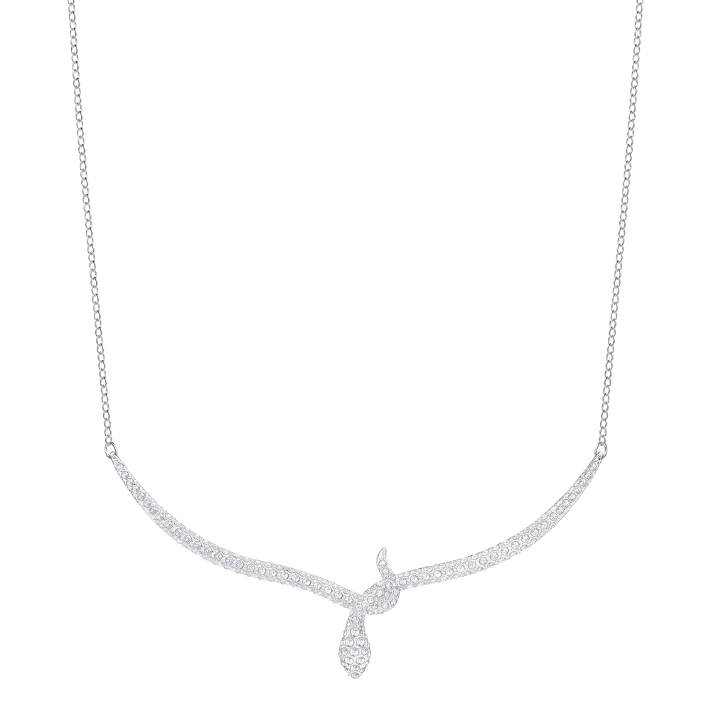 Leslie Necklace, White, Rhodium Plating
