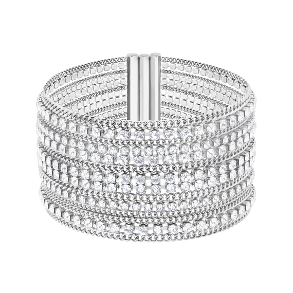 Fit Wide Bracelet, White, Stainless steel