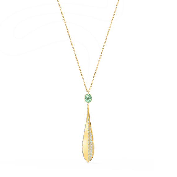 Stunning Olive Pendant, Green, Rose-gold tone plated