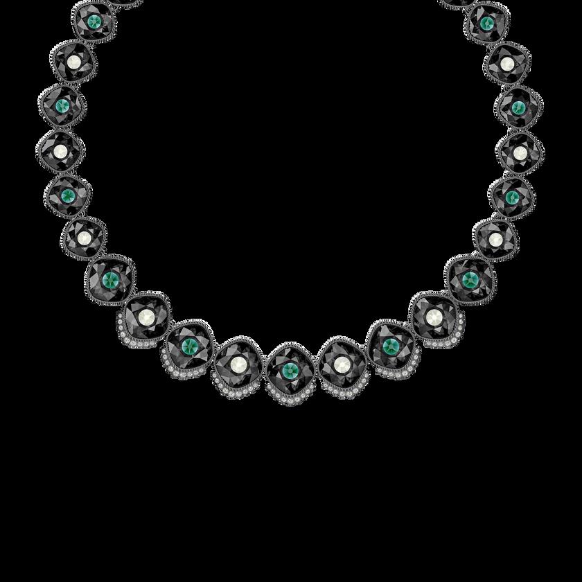 Black Baroque Necklace, Multi-colored, Ruthenium plated