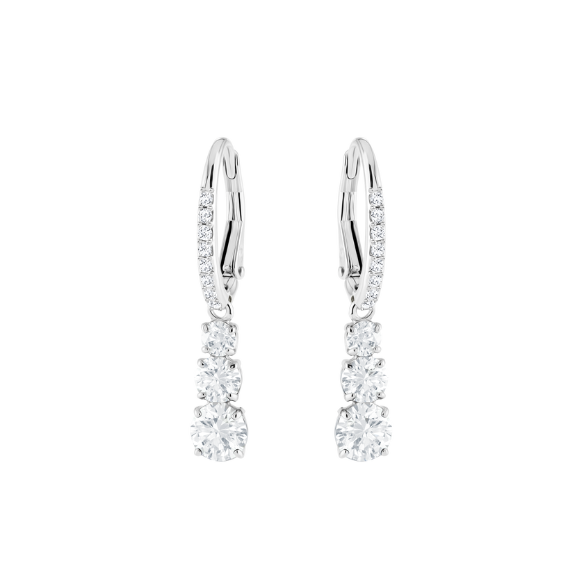 Attract Trilogy Round Pierced Earrings, White, Rhodium Plating