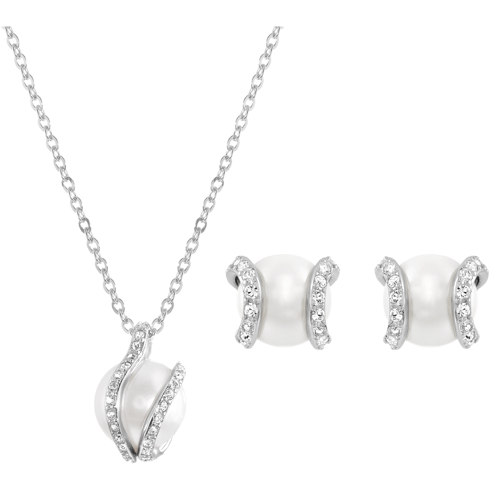 Nude Set, White, Rhodium Plating