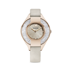 Crystalline Sporty Watch, Leather strap, Grey, Champagne-gold tone PVD