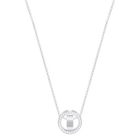 Hollow Pendant, Small, White, Rhodium Plated