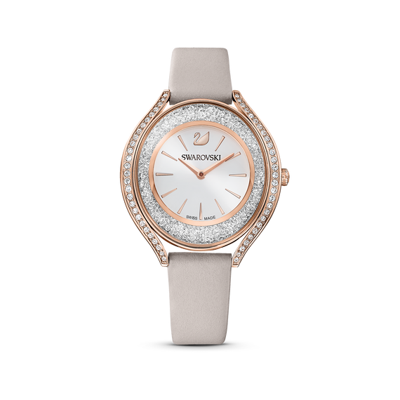 Crystalline Aura Watch, Leather strap, Gray, Rose-gold tone PVD