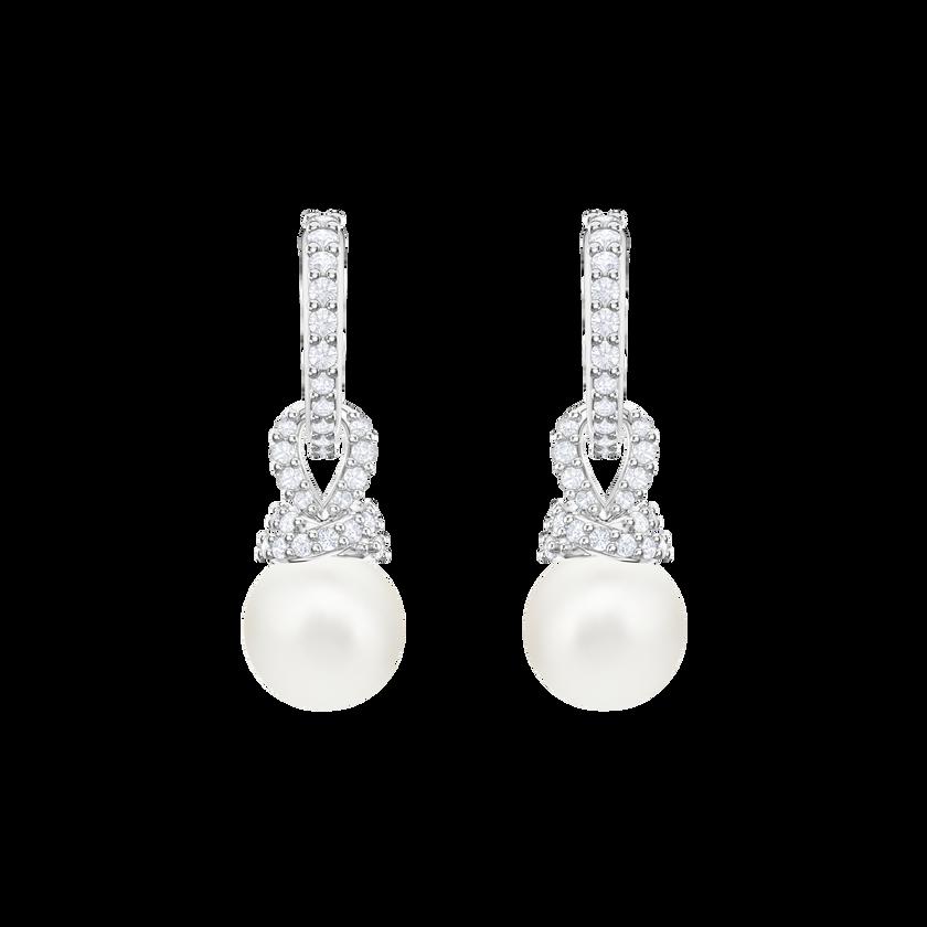 Originally Pierced Earrings, White, Rhodium plating
