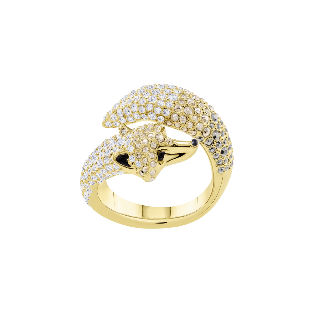 March Fox Motif Ring, Multi-Colored, Gold Plating