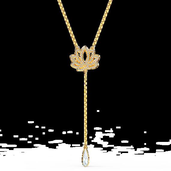 Swarovski Symbolic Lotus Necklace, White, Gold-tone plated