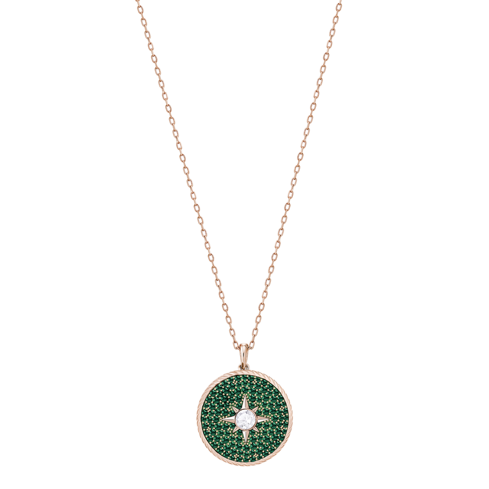 Locket Pendant, Green, Rose-gold tone plated