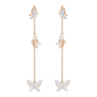 Lilia Pierced Earrings, White, Rose Gold Plating