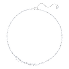 Louison Necklace, White, Rhodium Plating