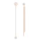 Precisely Pierced Earrings, White, Rose-gold tone plated