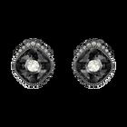Black Baroque Stud Pierced Earrings, Dark gray, Ruthenium plated
