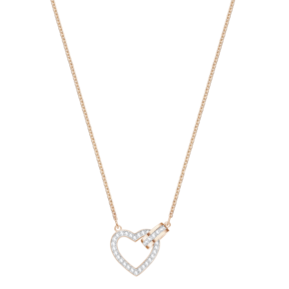 Lovely Necklace, White, Rose Gold Plating