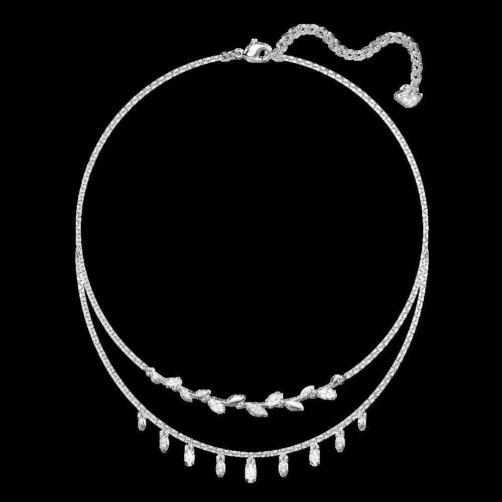 Mayfly Necklace, White, Rhodium plating