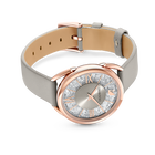 Crystalline Glam Watch, Leather Strap, Gray, Rose gold tone
