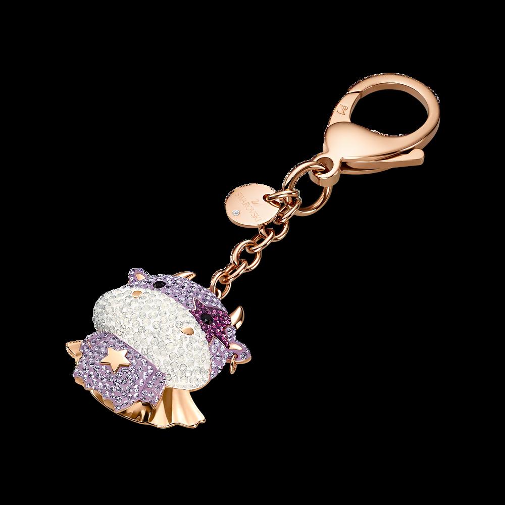 Zodiac Cow Bag Charm, Purple, Rose-gold tone plated