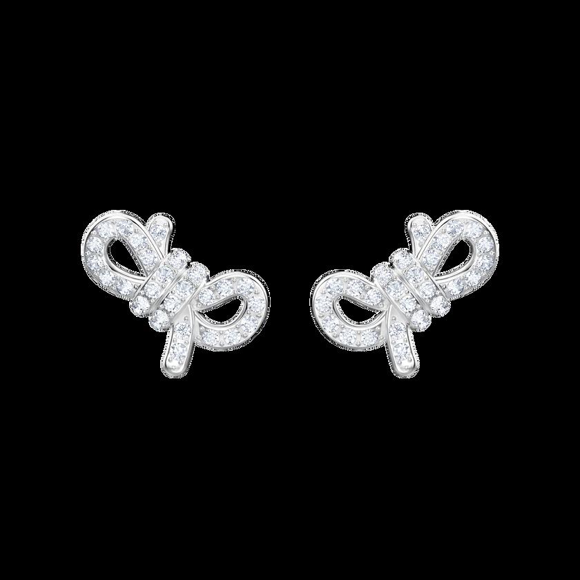Lifelong Bow Pierced Earrings, White, Rhodium plating