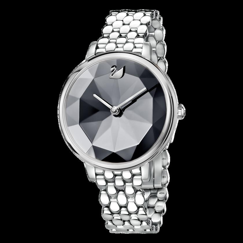 Crystal Lake Watch, Metal Bracelet, Dark Gray, Silver Tone
