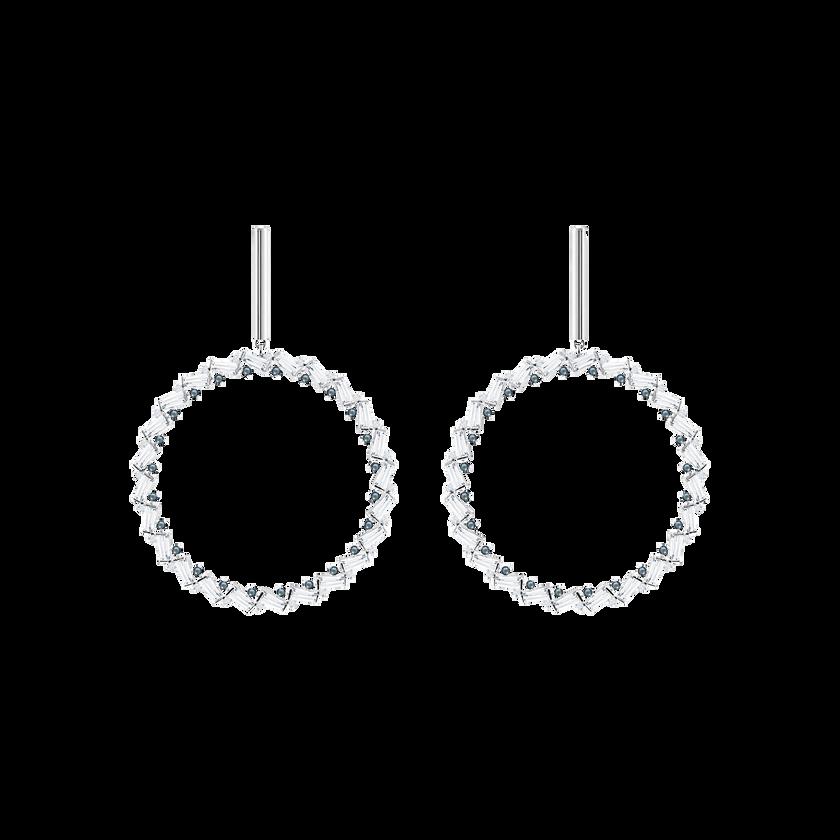 Naeli Pierced Earrings, White, Rhodium plated