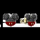 Mickey Pierced Earrings, Black, Gold-tone plated