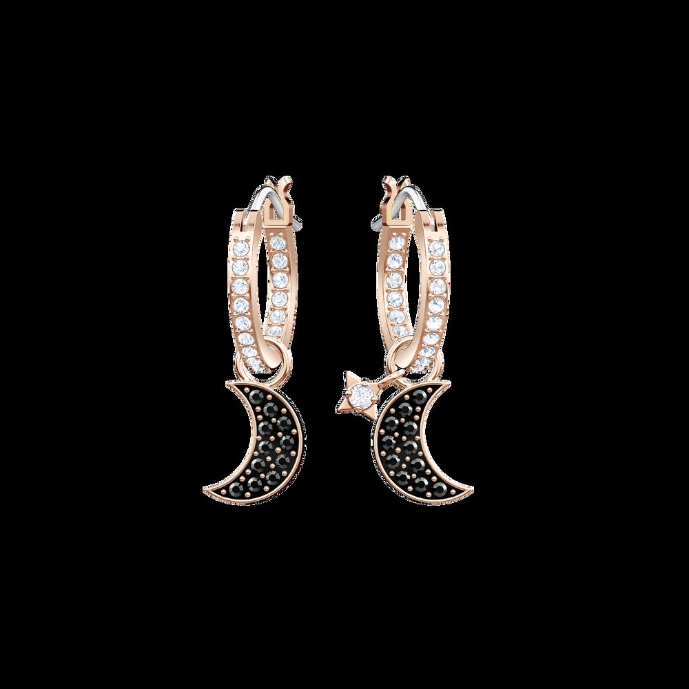 Duo Moon Hoop Pierced Earrings, Black, Rose Gold Plating