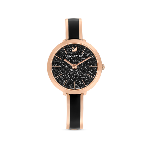 Crystalline Delight Watch, Metal Bracelet, Black, Rose-gold tone PVD