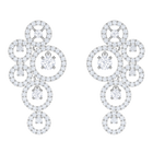 Creativity Pierced Earrings, White, Rhodium Plating