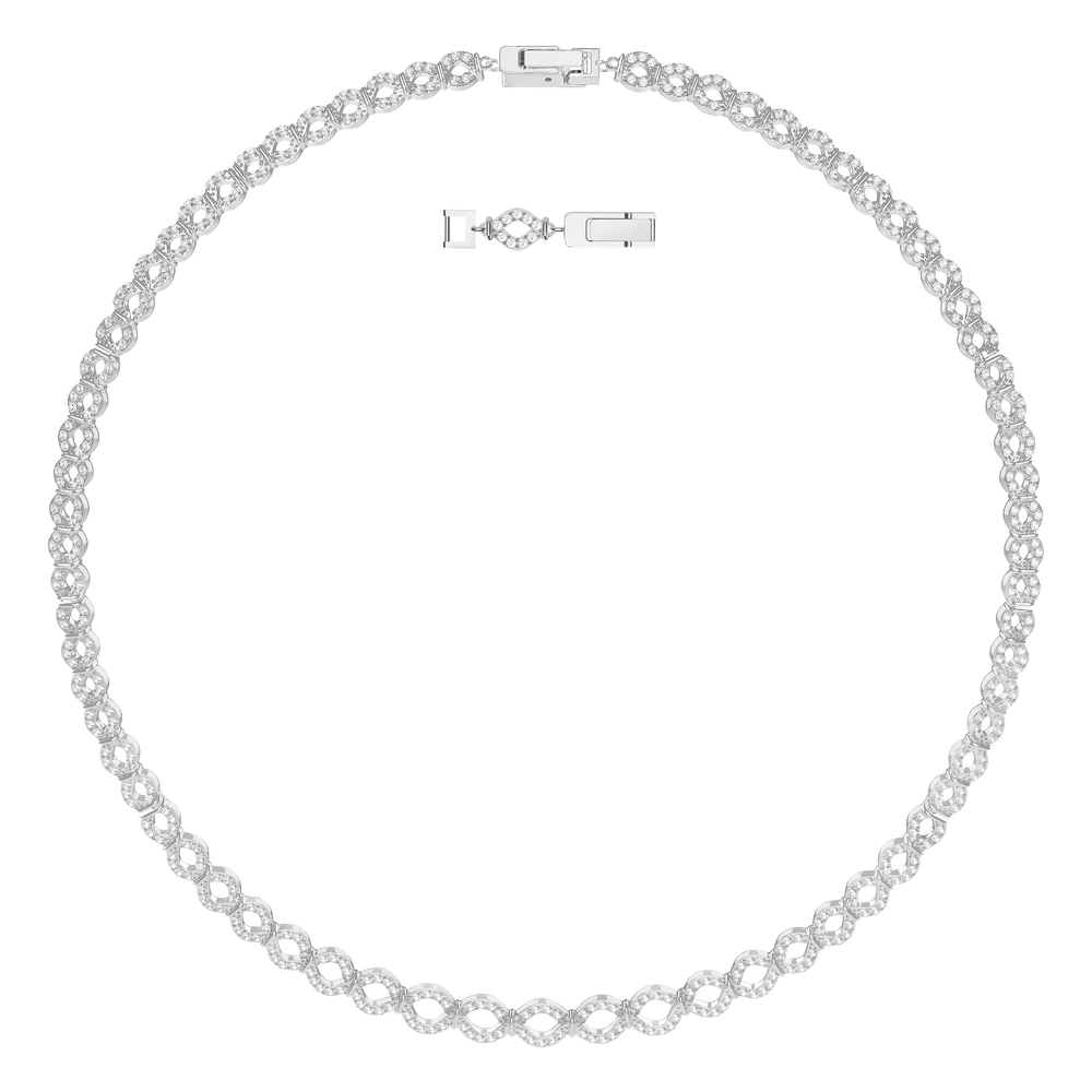 Lace Thin Necklace, White, Rhodium Plating