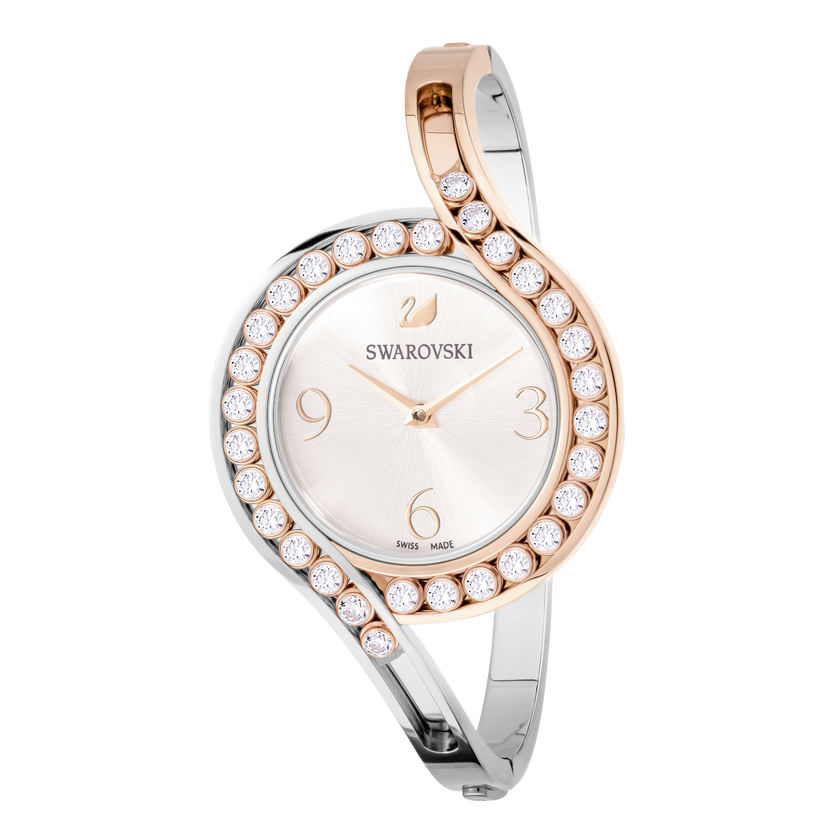 Lovely Crystals Bangle Watch, Metal bracelet, White, Mixed tone