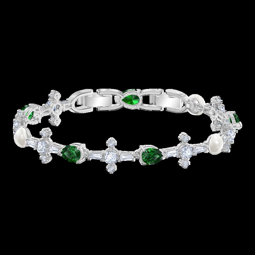 Perfection Bracelet, Green, Rhodium plated