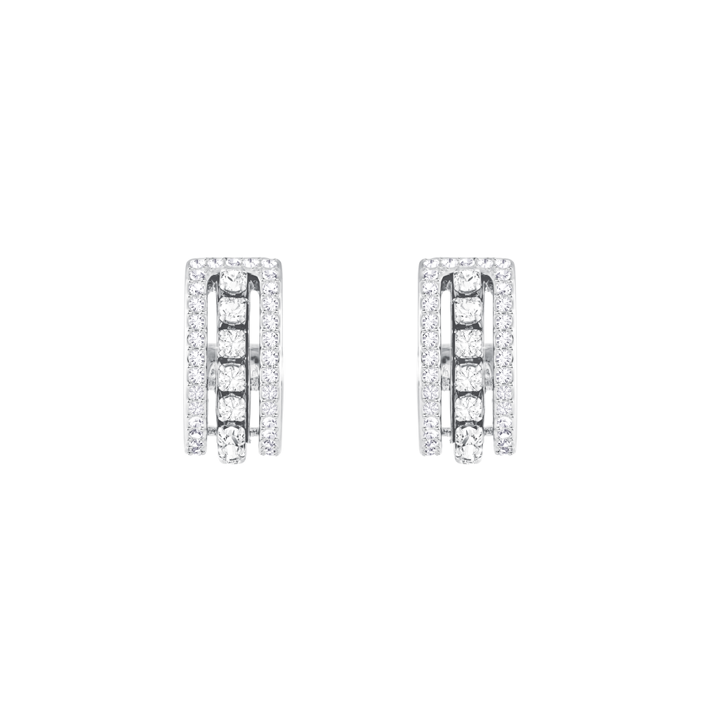 Further Pierced Earrings, White, Rhodium Plating