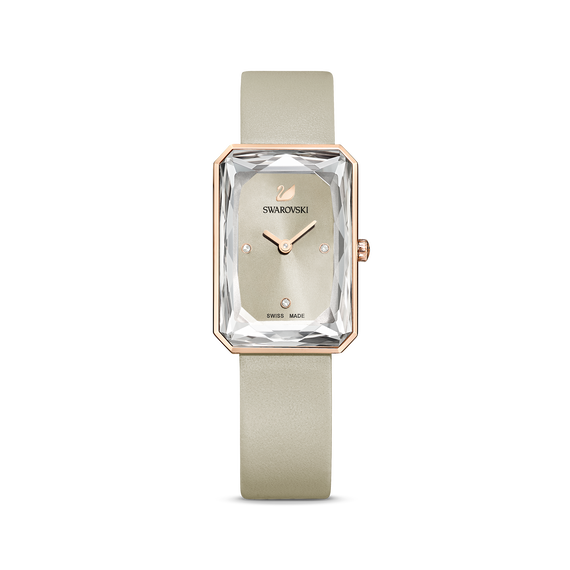 Uptown Watch, Leather strap, Grey, Rose-gold tone PVD