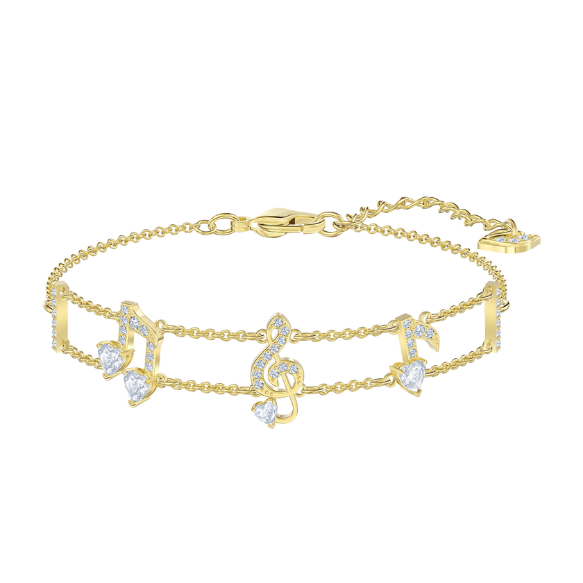 Pleasant Bracelet, White, Gold-tone plated