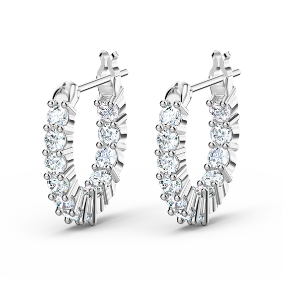 Vittore Mini Hoop Pierced Earrings, White, Rhodium plated